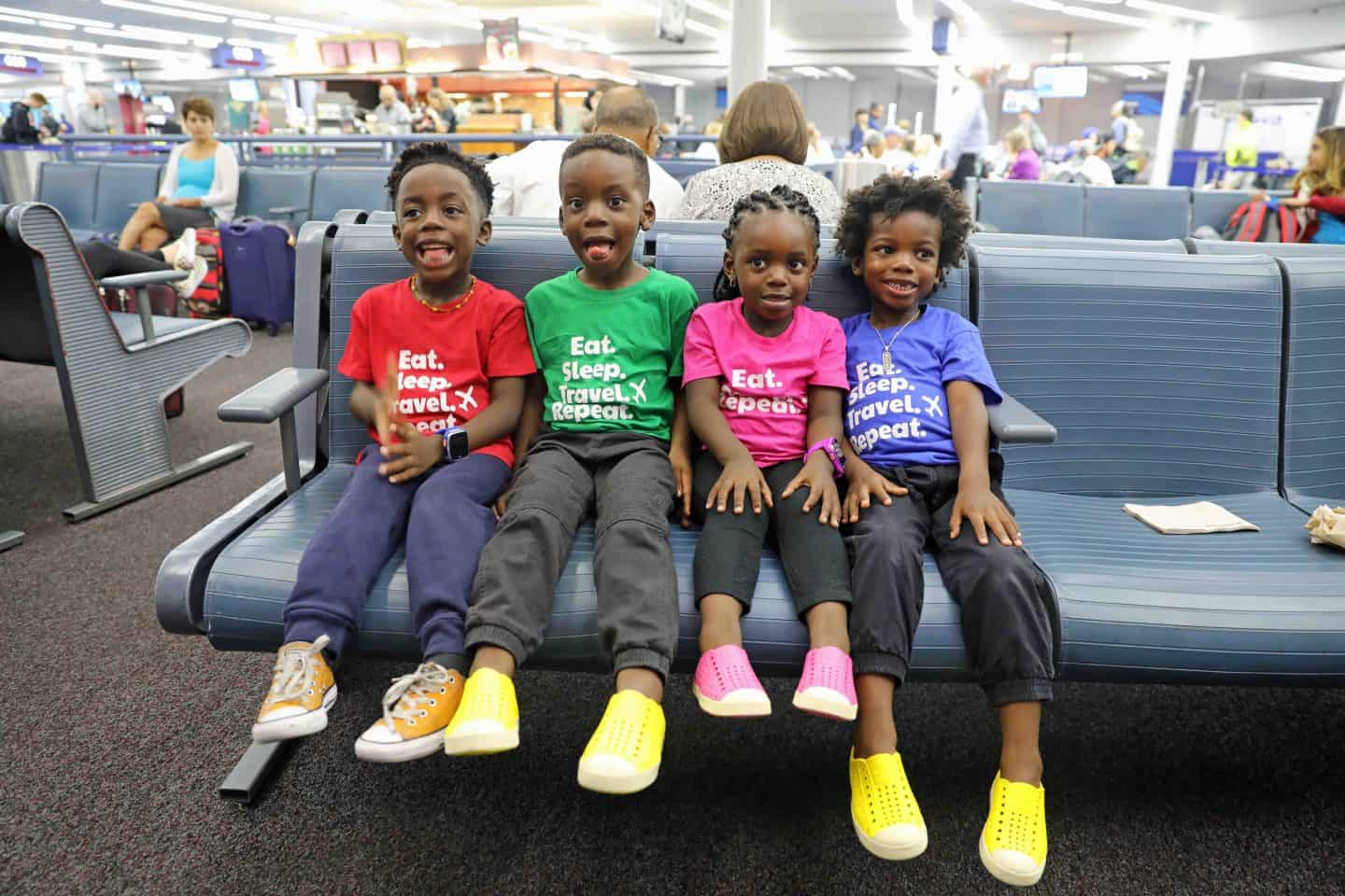 children at the airport