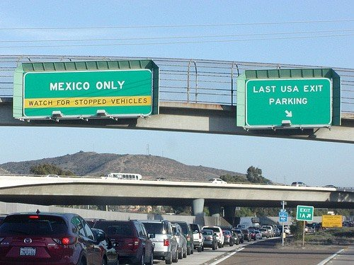 Last USA Parking Exit marker approaching Mexico border from San Diego