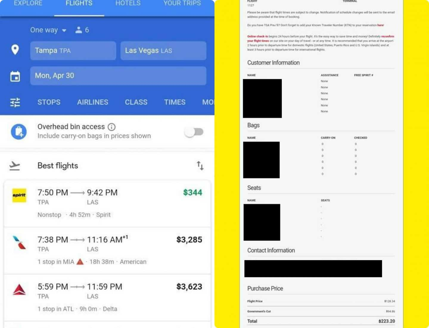 Comparison of booking Spirit Airlines ticket on line versus at the airport counter