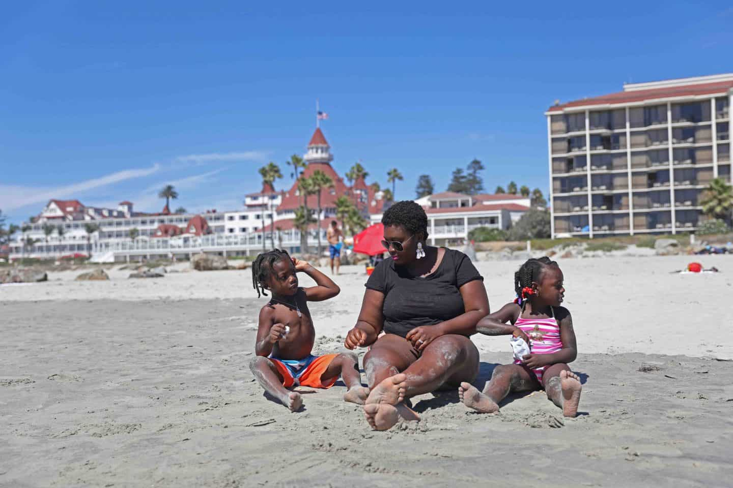 Family Enjoying Coronado Beach near San Diego