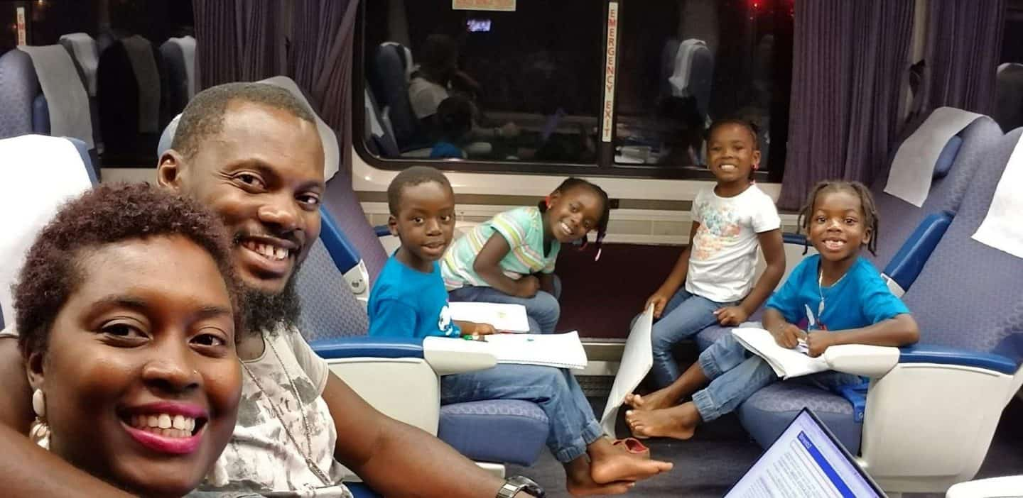 Family riding from Los Angeles To San Diego On The Amtrak Train