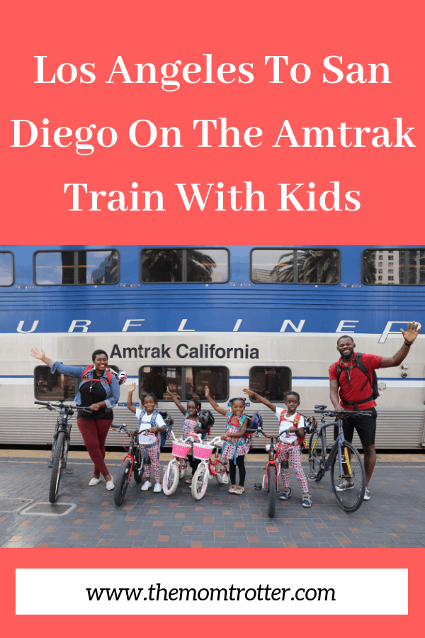 Family traveling Los Angeles To San Diego On The Amtrak Train With Kids