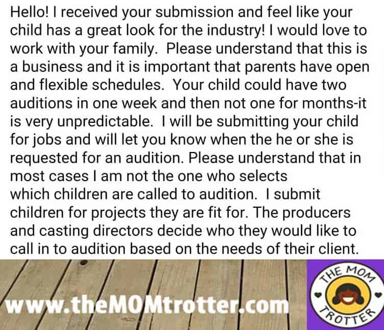 Kids Talent Agency response to The Mom Trotter
