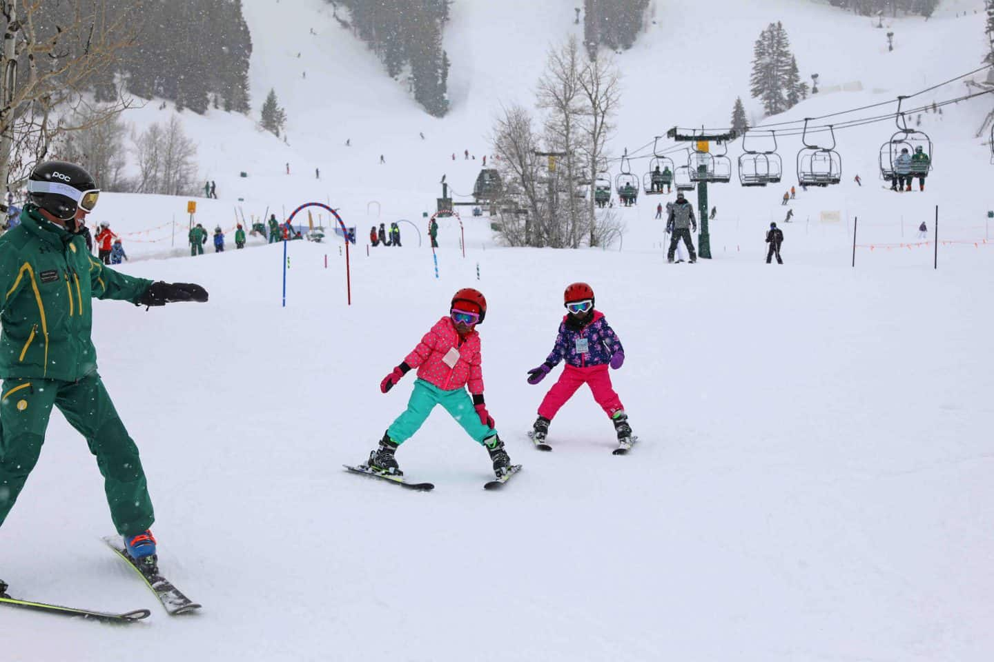 black kids skiing at ski school park city utah