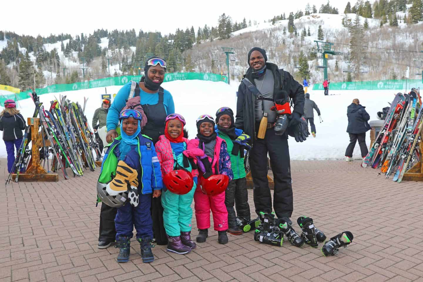 black family sking in park city utah
