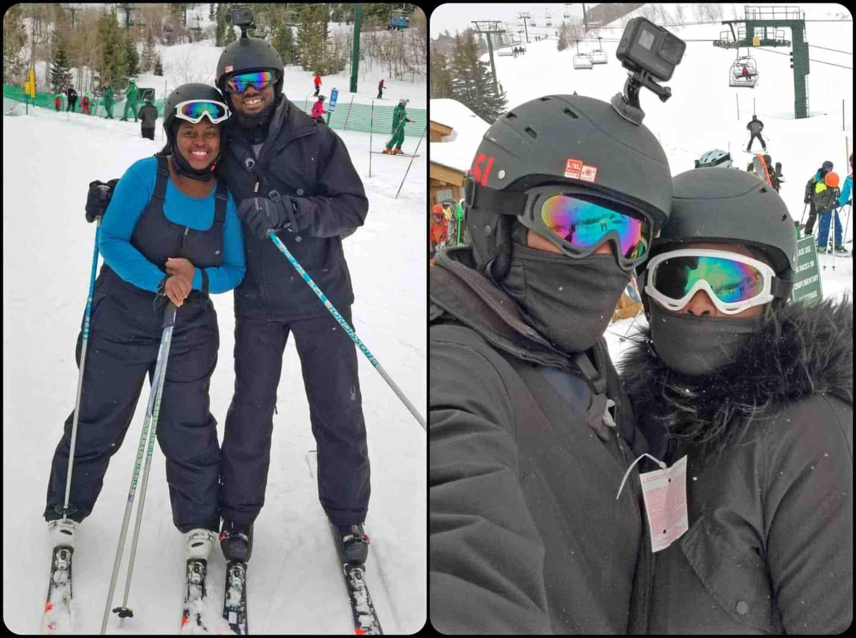 black travel family taking ski lessons