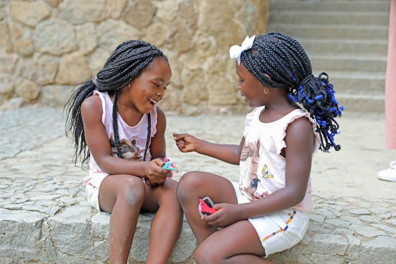 black girls playing together