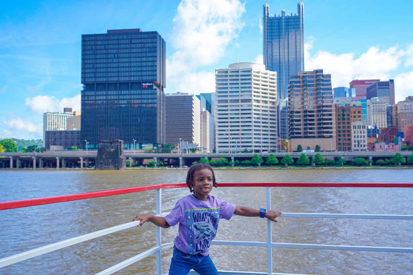 black kids do travel on a boat tour in pittsburgh