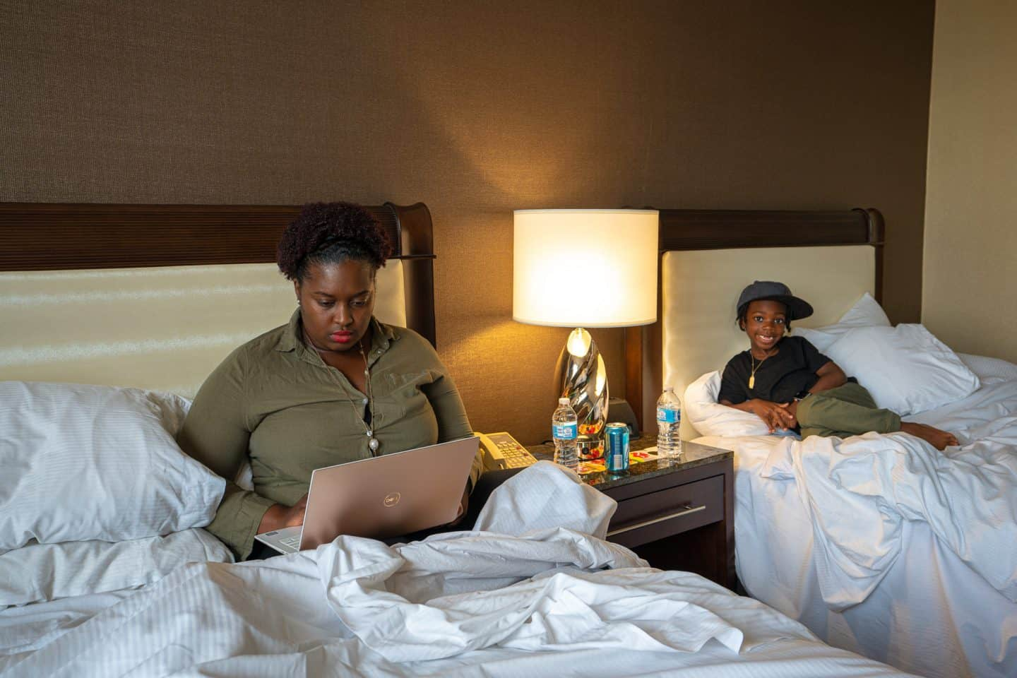 black family in hilton hotel room