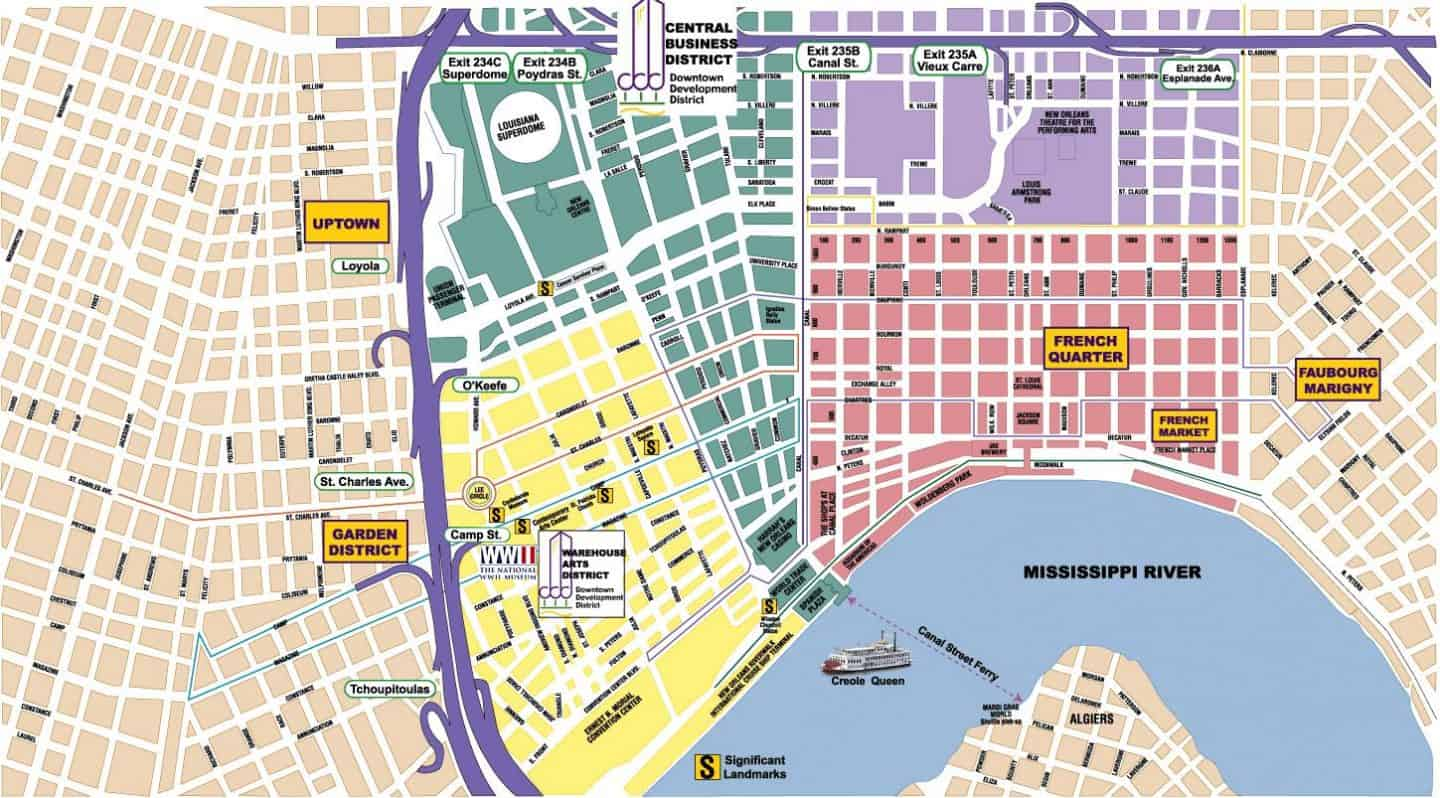 New Orleans Neighborhoods map