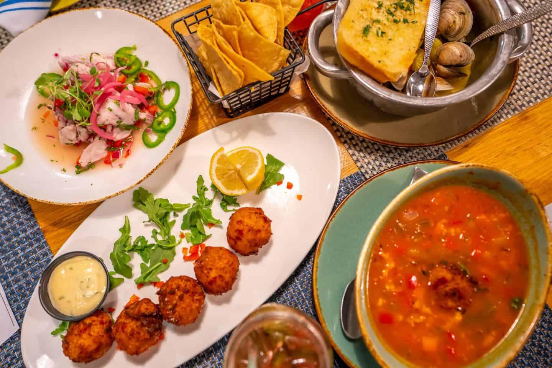 enjoying food at Key Largo Restaurants with family