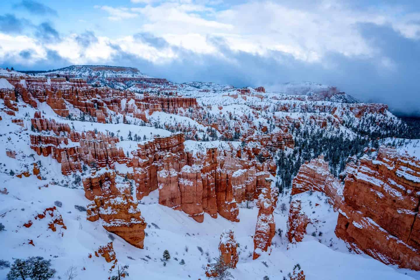 A picture of a snowy day at Bryce Canyon National Park.