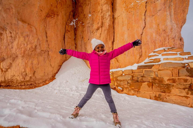 A girl enjoying the snowy day!